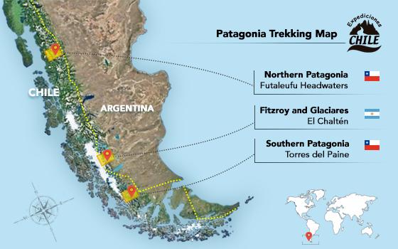 map of patagonia chile Patagonia Trekking Chile Trekking In Patagonia South America map of patagonia chile
