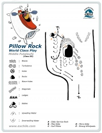 A detailed sketch illustrating the key kayak Pillow Rock