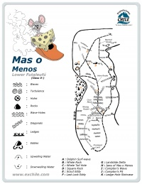A detailed sketch illustrating the key kayak lines of Mas o Menos
