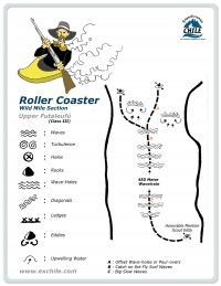 A detailed sketch illustrating the key kayak lines of Roller Coaster