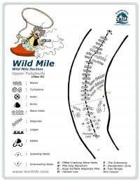 A detailed sketch illustrating the key kayak lines of Wild Mile