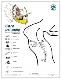 A detailed sketch illustrating the key kayak lines of Cara del Indio